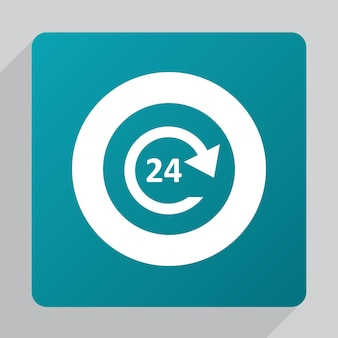 フラット24時間サービスアイコン、緑の背景に白