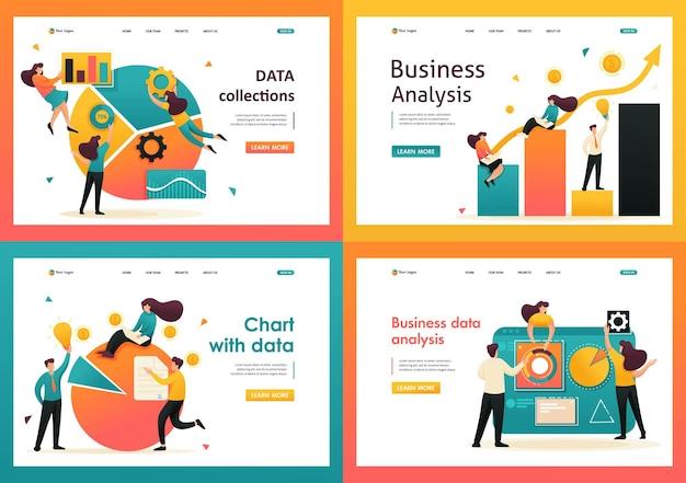 플랫 2d 데이터 분석, 데이터가 포함된 차트, 데이터 수집. 방문 페이지 개념 및 웹 디자인용.
