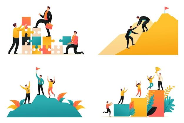 Плоская 2d иллюстрация на тему достижения успеха в команде, путь к успеху, командная работа. концепция веб-дизайна.