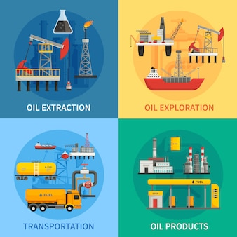 Flat 2x2 images presenting oil petrol industry oil exploration extraction transportation products ve