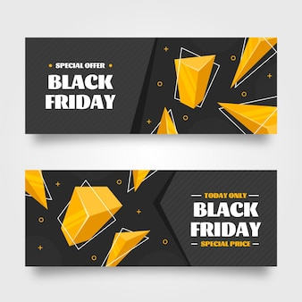 Flat 3d black friday horizontal banners set