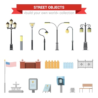 Flat 3d high quality city street urban objects icon set. street lights, citylight, fence, usa flag, fountain, sign, street phone, bench.  build your own world web infographics collection.