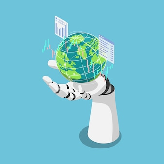 Flat 3d isometric ai artificial intelligence analysis stock market data around the world. ai machine learning concept.