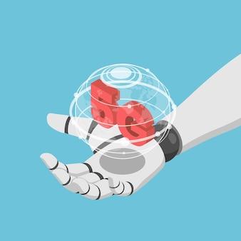 フラット3dアイソメトリックai人工知能ロボットの手が仮想世界と5gのアイコンを持っています。 5gネットワークワイヤレスシステムとモノのiotコンセプトのインターネット。