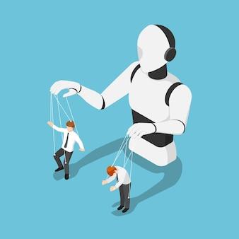 人形のようにビジネスマンを制御するフラット3dアイソメトリックaiロボット。人工知能技術の概念。