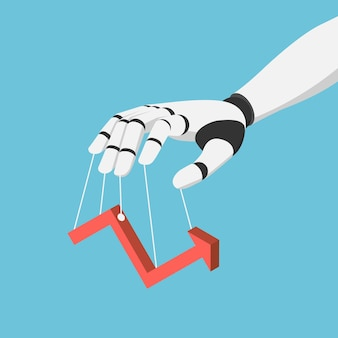 Flat 3d isometric ai robot hand puppet and controlling financial market graph. artificial intelligence technology and financial concept.