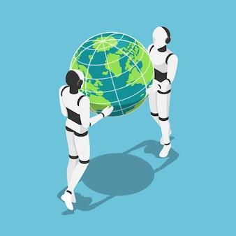 地球の惑星を手に持つフラットな3dアイソメトリックaiロボット。人工知能技術の概念。