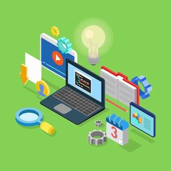 Sviluppo di codifica software applicativo isometrico 3d piatto