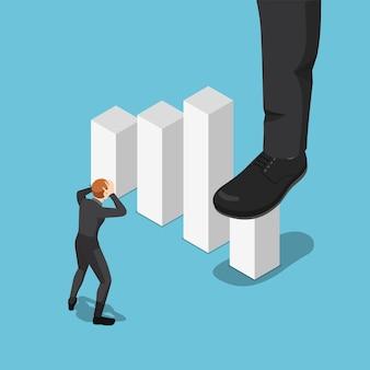 フラット3dアイソメトリックビッグビジネスマンの足が踏んでビジネスグラフの成長を停止します。ビジネス競争の概念。