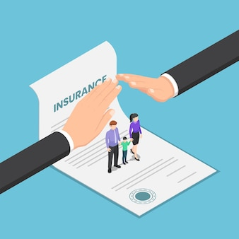 Flat 3d isometric big businessman hand protect the family that standing on insurance document. family and health insurance services concept.