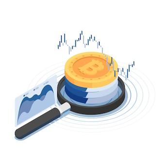 財務チャート付きの拡大鏡上のフラット3dアイソメトリックビットコイン。暗号通貨とブロックチェーンテクノロジーの概念。