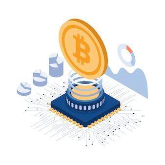 컴퓨터 칩 및 회로 기판 위에 평면 3d 아이소메트릭 bitcoin. bitcoin 광업 및 cryptocurrency 개념.