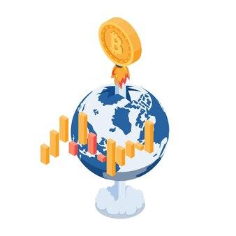 フラット3dアイソメトリックビットコインロケットは世界を飛びます。ビットコインの価格の急成長と暗号通貨の概念。