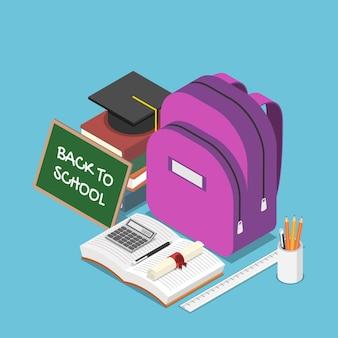 학교로 돌아가는 텍스트와 배낭, 문구류, 책, 졸업 모자가 있는 평평한 3d 아이소메트릭 칠판. 학교 및 교육 개념으로 돌아가기.