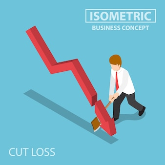 Flat 3d isometric business cut falling graph by axe, stock market investment and cut loss concept