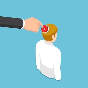 평면 3d 아이소메트릭 비즈니스 손으로 사업가 머리에 재설정 버튼을 누릅니다. 사고 방식 개념을 재설정합니다.