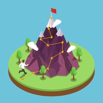 평면 3d 아이소메트릭 비즈니스 여행 경로는 산 꼭대기에 있는 성공 목표입니다. 정상까지 등반 루트가 있는 산. 경력 성장 및 목표 달성 개념입니다.