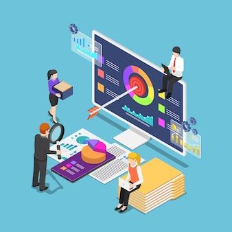 コンピューターのスマートフォンとドキュメントでビジネス統計を分析するフラットな3dアイソメトリックビジネスマン。ビジネスデータ分析の概念。