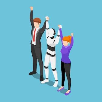 フラット3dアイソメトリックビジネスの人々とaiロボットは一緒に手を上げることによってチームワークを示しています