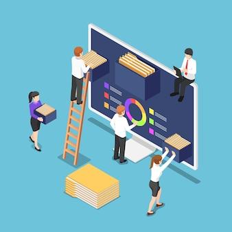 Плоские 3d изометрические деловые люди организуют файлы и папки документов внутри компьютера. концепция управления файлами и данными.