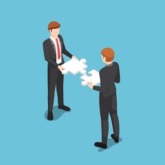 互換性のあるジグソーパズルを組み立てるフラットな3dアイソメトリックビジネスマン。ビジネスチームとチームワークの概念。