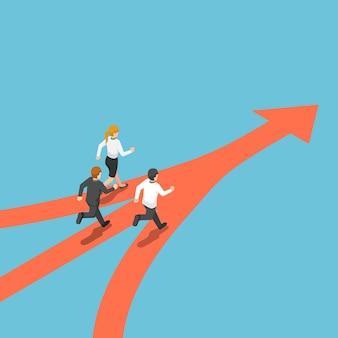 플랫 3d 아이소메트릭 비즈니스 사람들은 다른 방식으로 왔지만 동일한 목표를 가지고 있습니다. 비즈니스 팀 및 대상 개념입니다.