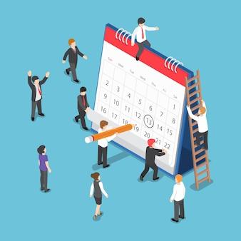 卓上カレンダーに円マークを描くことによるフラットな3dアイソメトリックビジネスマンの計画とスケジューリング操作。事業運営計画とスケジューリングの概念。