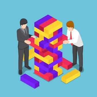 평면 3d 아이소메트릭 비즈니스 사람들이 나무 타워 장난감을 재생합니다. 비즈니스 경쟁 및 전략 개념입니다.