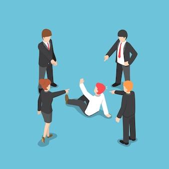 責任のあるビジネスマンに指を指しているフラット3dアイソメトリックビジネスの人々。ビジネスの失敗の概念。