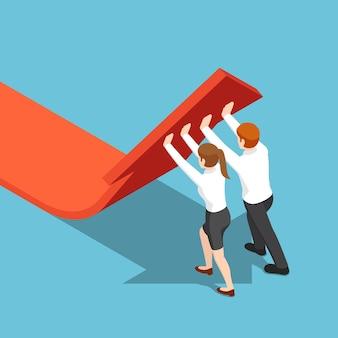 평평한 3d 아이소메트릭 비즈니스 사람들은 화살표 그래프를 위로 밀어 올립니다. 팀워크 및 솔루션 개념입니다.