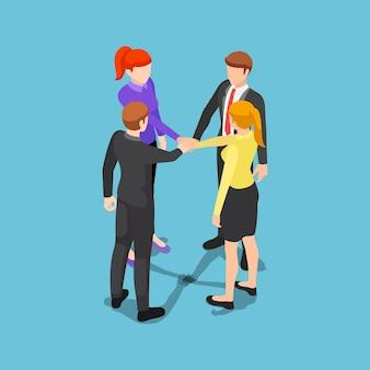 Плоские 3d изометрические деловых людей, складывая руки. концепция единства и совместной работы.