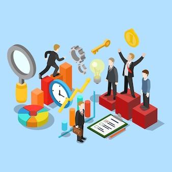 Piatto 3d isometrico concetto di movimento di successo aziendale