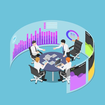 가상 현실 보드에서 마케팅 및 재무 데이터를 사용하여 회의 이벤트에서 평면 3d 아이소메트릭 비즈니스 팀. 비즈니스 개념의 팀워크와 브레인스토밍