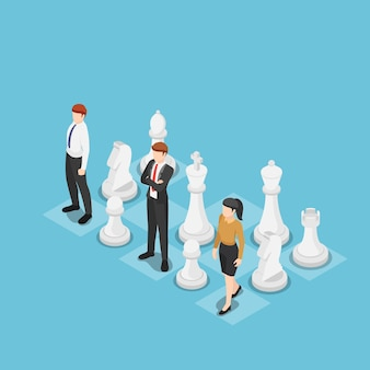 Плоские 3d изометрические бизнес-команда, стоящая с шахматами. концепция бизнес-стратегии.