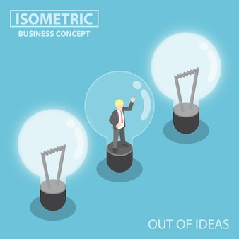 Flat 3d isometric business trapping inside broken light bulb,  out of ideas concept