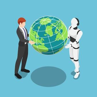 フラット3dアイソメトリックビジネスマンとaiロボットが世界を一緒に保持します。チームワークとai人工知能の概念。