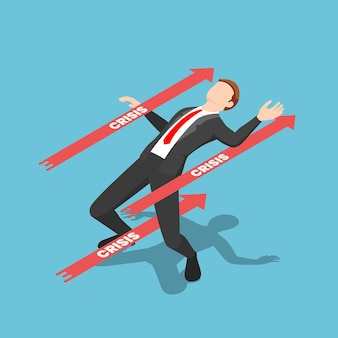 Flat 3d isometric businessman avoided red crisis arrow. business crisis management concept.
