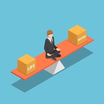 평면 3d 아이소메트릭 사업가가 시소 작업과 삶의 균형을 맞춥니다. 비즈니스 및 생활 관리 개념입니다.
