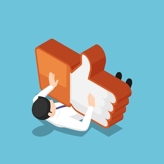 Flat 3d isometric businessman being crushed by the like icon. social media marketing and social networking addiction concept.