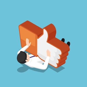 평평한 3d 아이소메트릭 사업가가 같은 아이콘에 의해 짓밟히고 있습니다. 소셜 미디어 마케팅 및 소셜 네트워킹 중독 개념.