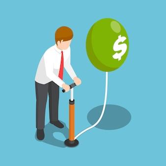 エアポンプでドルの風船を吹くフラット3dアイソメトリックビジネスマン。インフレのお金と金融の概念。