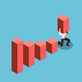 Плоский 3d изометрический бизнесмен несет и поднимает гистограмму выше самой высокой точки