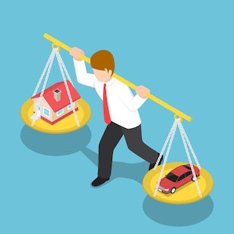 Flat 3d isometric businessman carrying house and car on his shoulder