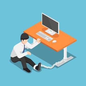 평평한 3d 아이소메트릭 사업가가 책상에 묶여 있습니다. 열심히 일하는 개념.