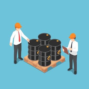 평평한 3d 아이소메트릭 사업가가 오일 배럴을 확인합니다. 석유 및 가스 산업 개념