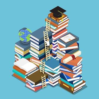 평면 3d 아이소메트릭 사업가 졸업 모자에 사다리를 등반. 교육 개념입니다.