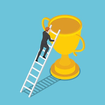 Flat 3d isometric businessman climbs up ladder to the trophy business success concept