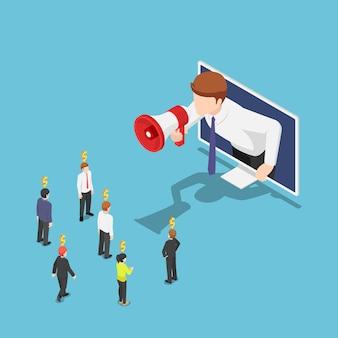평평한 3d 아이소메트릭 사업가가 모니터에서 나와서 확성기로 친구를 언급합니다. 추천 마케팅 및 디지털 비즈니스 광고.