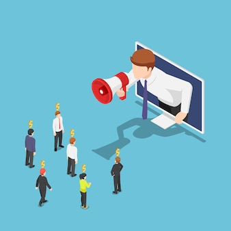 Flat 3d isometric businessman come out from monitor and shout on megaphone to refer a friend. referral marketing and digital business advertising.