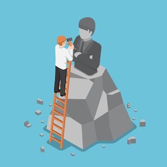 그의 동상의 모델을 만드는 평면 3d 아이소메트릭 사업가. 비즈니스 리더십과 자아 개념입니다.